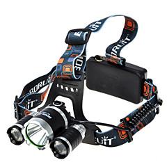 Boruit® T6 Fejlámpák Menetfény LED 1800 lumens lm 4.0 Mód Cree XM-L T6 Szuper könnyű Kempingezés/Túrázás/Barlangászat Fekete