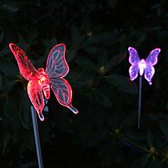 2 szt słonecznego motyla zmieniający kolor światła ogrodowe palika