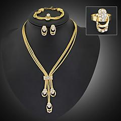 Dames Sieraden Set Modieus Opvallende sieraden Lange Lengte Kostuum juwelen Verguld Gesimuleerde diamant Sieraden Oorbellen Ketting