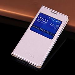 For Samsung Galaxy etui Med vindue Auto Sluk Flip Etui Heldækkende Etui Helfarve Kunstlæder for Samsung Core Prime