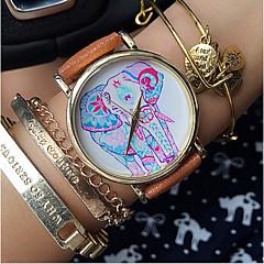 お買い得  レディース腕時計-女性用 クォーツ ホット販売 PU バンド 花型 ファッション ブラック 白 ブラウン グリーン ピンク ベージュ