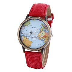 voordelige Dameshorloges-Dames Armbandhorloge Modieus horloge Kwarts World Map Patroon PU Band Vintage Zwart Wit Blauw Rood Bruin Kaki