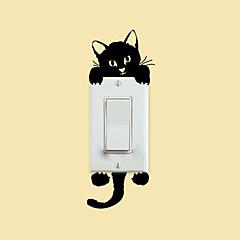 abordables Adhesivos y calcomanías-pegatinas de pared de estilo calcomanías de pared pegatinas interruptor gatito pvc