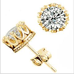 cheap Earrings-Women's Cute Crown Zircon Cubic Zirconia Stud Earrings - Party Work Casual Gold Crown Earrings For Wedding Party Daily