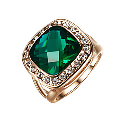 cheap -T&C Women's Classic 18k Rose Gold Plated Big Shape Emerald Green Crystal Cubic Zirconia Romantic Party Rings