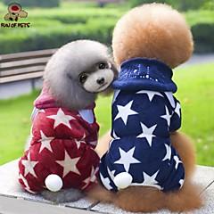 お買い得  犬用ウェア&アクセサリー-犬 パーカー ジャンプスーツ 犬用ウェア Stars レッド ブルー フリース コスチューム ペット用 男性用 女性用 キュート カジュアル/普段着