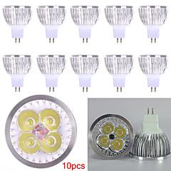 10pcs mr16 led spotlight mr16 4 high power led 450lm warm wit koud wit decoratief dc12v