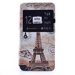 Недорогие Чехлы и кейсы для Galaxy Note 5-Кейс для Назначение SSamsung Galaxy Samsung Galaxy Note Бумажник для карт со стендом с окошком Флип С узором Чехол Эйфелева башня Мягкий