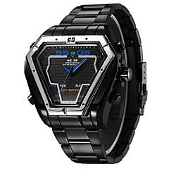 お買い得  メンズ腕時計-WEIDE 男性用 リストウォッチ アラーム / カレンダー / クロノグラフ付き ステンレス バンド チャーム ブラック / シルバー / 耐水 / LED / 2タイムゾーン / 2年 / Maxell626 + 2032