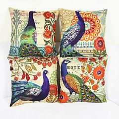 sæt af 4 europæiske påfugl mønster hør sofa pudebetræk pudebetræk