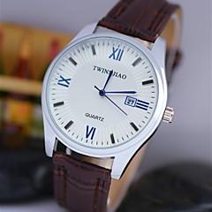 preiswerte Tolle Angebote auf Uhren-Herrn Armbanduhr Kalender Leder Band Charme Schwarz / Braun / TY 377A