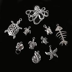 beadia antik ezüst fém medál medálok tengeri csillag kagyló teknősbéka polip&Manta Ray DIY ékszer medál
