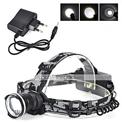 Headlamp Straps LED 3000 Lumens 1 Mode Cree XM-L T6 Yes Rechargeable for Camping/Hiking/Caving Cycling/Bike Hunting Fishing Climbing Black