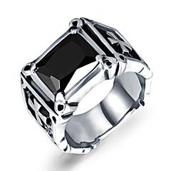 お買い得  指輪-男性用 バンドリング  -  チタン鋼 誕生石です. 7 / 8 / 9 / 10 / 11 ブラック / レッド 用途 結婚式 パーティー 日常 / ジルコン