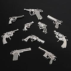 저렴한 -빈티지 금속 매력 펜던트 골동품 실버 권총 모양의 팔찌 매력 (10) 스타일 beadia