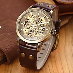 お買い得  大特価腕時計-SHENHUA 男性用 リストウォッチ 自動巻き 透かし加工 レザー バンド ラグジュアリー ブラック ブラウン