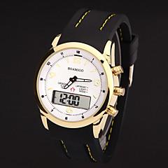 preiswerte Tolle Angebote auf Uhren-Herrn Armbanduhr Quartz 30 m Wasserdicht Chronograph LED Leder Band Analog-Digital Charme Schwarz - Gold / Weiß Schwarz Goldenschwarz
