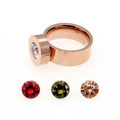 お買い得  指輪-女性用 バンドリング  -  ステンレス鋼, ジルコン, キュービックジルコニア 誕生石です. 6 / 7 / 8 シルバー / ローズ / ゴールデン 用途 結婚式 / パーティー / 日常
