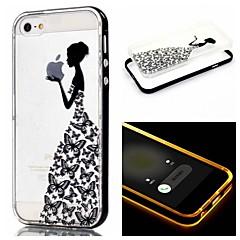 Для Кейс для iPhone 5 Мигающая LED подсветка / Прозрачный / С узором Кейс для Задняя крышка Кейс для Композиция с логотипом Apple Мягкий