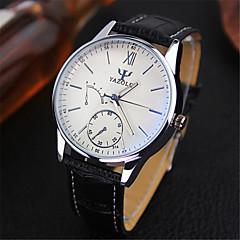 お買い得  メンズ腕時計-YAZOLE 男性用 リストウォッチ クロノグラフ付き / 耐水 レザー バンド チャーム ブラック / ブラウン