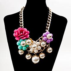 お買い得  ネックレス-女性用 真珠 ペンダントネックレス / ステートメントネックレス  -  真珠, 人造真珠, 樹脂 レディース, ボヘミアンスタイル, ファッション, ボヘミアン ピンク, ライトブルー, 虹色 ネックレス ジュエリー 用途 パーティー, 日常, カジュアル