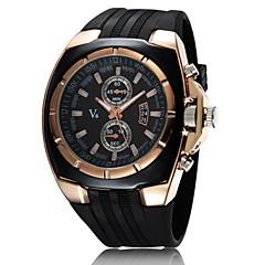 お買い得  大特価腕時計-V6 男性用 軍用腕時計 リストウォッチ クォーツ 日本産クォーツ カジュアルウォッチ ラバー バンド ハンズ チャーム ブラック - ホワイト ブラック 2年 電池寿命 / 三菱LR626