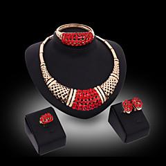 Mujer Juego de Joyas Moda Joyería de Lujo Piedras preciosas sintéticas Pendientes Collar Brazalete Anillo Para Fiesta Ocasión especial