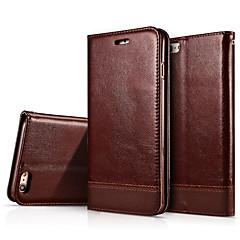 Недорогие Кейсы для iPhone-Кейс для Назначение Apple iPhone 6 iPhone 6 Plus Бумажник для карт со стендом Флип Чехол Сплошной цвет Твердый Настоящая кожа для iPhone