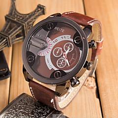 baratos Relógios em Oferta-Homens Quartzo Relógio Militar Relógio Esportivo Relógio Casual Couro Banda Legal Preta Laranja Marrom