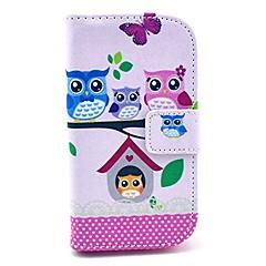 Varten Samsung Galaxy kotelo Korttikotelo / Lomapkko / Tuella / Flip / Kuvio Etui Kokonaan peittävä Etui Pöllö Tekonahka SamsungStyle