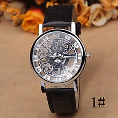 preiswerte Damenuhren-Damen Quartz Armbanduhr Transparentes Ziffernblatt Leder Band Freizeit Elegant Modisch Schwarz Braun