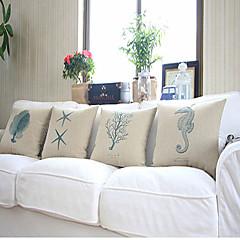 Algodón / Algodón/Lino Cobertor de Cojín , Estampado animal Moderno/Contemporáneo