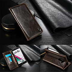 Για Θήκη LG Θήκη καρτών / Πορτοφόλι / με βάση στήριξης / Ανοιγόμενη tok Πλήρης κάλυψη tok Μονόχρωμη Σκληρή Γνήσιο δέρμα LG LG G4
