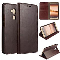 Для Кейс для Huawei / Mate 8 Кошелек / Бумажник для карт / со стендом / Флип Кейс для Чехол Кейс для Один цвет Твердый Натуральная кожа