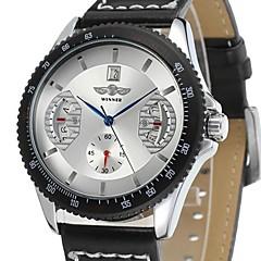 Męskie Zegarek na nadgarstek zegarek mechaniczny Na codzień Mechaniczny, nakręcanie ręczne Skóra Pasmo Ekskluzywne Czarny