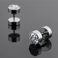 cheap Earrings-Men's Stud Earrings - Rhinestone White / Black For Wedding / Party / Daily