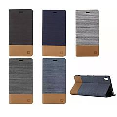 halpa -ylellisyyttä flip kangas nahkainen lompakko korttipaikka haltija Sony Xperia m2 / m4 / E4 / C4 / Z3 / Z4 / Z3 mini / T3