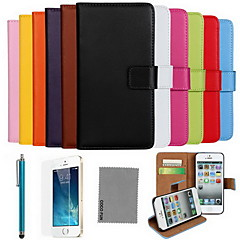 billige Etuier til iPhone X-COCO FUN Etui Til Apple iPhone X / iPhone 8 / iPhone 8 Plus Pung / Kortholder / Med stativ Fuldt etui Ensfarvet Hårdt ægte læder for iPhone X / iPhone 8 Plus / iPhone 8