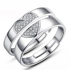 olcso Női ékszerek-Páros Páros gyűrűk - Ezüst Divat Állítható Ezüst Kompatibilitás Esküvő / Parti / Napi / Cirkonium