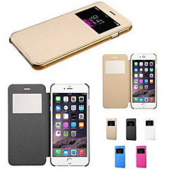 abordables Accesorios de Apple-Funda Para iPhone 6s Plus / iPhone 6 Plus / iPhone 6s iPhone 6 Plus / iPhone 6 con Ventana / Flip Funda de Cuerpo Entero Color sólido Dura Cuero de PU para iPhone 6s Plus / iPhone 6s / iPhone 6 Plus