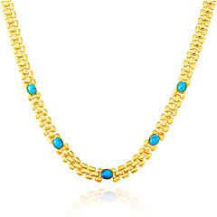 Dame Kædehalskæde Agat Guldbelagt Smaragd Turkis kostume smykker Smykker Til Bryllup Fest Daglig Afslappet Julegaver