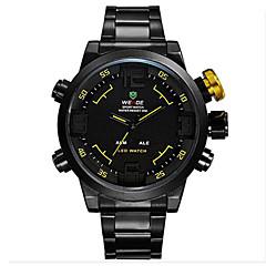 preiswerte Tolle Angebote auf Uhren-WEIDE Herrn Armbanduhr Quartz Japanischer Quartz 30 m Wasserdicht Alarm Kalender Edelstahl Band Analog-Digital Charme Schwarz - Gelb Rot Blau / Chronograph / LED / Duale Zeitzonen