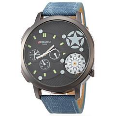 お買い得  メンズ腕時計-JUBAOLI 男性用 軍用腕時計 / リストウォッチ 2タイムゾーン レザー バンド ブラック / ブルー / グレー