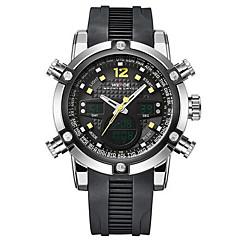 お買い得  大特価腕時計-WEIDE 男性用 リストウォッチ クォーツ 30 m 耐水 アラーム カレンダー ラバー バンド アナログ/デジタル ぜいたく ブラック - イエロー レッド ブルー 2年 電池寿命 / ステンレス / クロノグラフ付き / LCD / 2タイムゾーン / Maxell626 + 2032