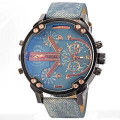 preiswerte Tolle Angebote auf Uhren-JUBAOLI Herrn Militäruhr / Armbanduhr Duale Zeitzonen Leder Band Charme Schwarz / Blau / Grau / SSUO LR626