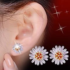 preiswerte Ohrringe-Damen Kubikzirkonia Ohrstecker - Sterling Silber, Zirkon, Silber Blume Silber / Gelb Für Hochzeit / Party / Alltag