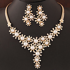cheap Jewelry Sets-Women's Pearl Jewelry Set - Pearl, Imitation Pearl, Rhinestone Flower European, Fashion Include Silver / Golden For Wedding Party Birthday / Imitation Diamond / Earrings / Necklace