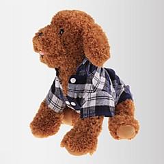 お買い得  猫の服-ネコ 犬 Tシャツ 犬用ウェア 格子柄 レッド グリーン ブルー コットン コスチューム ペット用 男性用 女性用 クラシック カジュアル/普段着