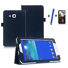 Недорогие Чехлы и кейсы для Galaxy Tab 3 Lite-Для со стендом / С функцией автовывода из режима сна / Флип Кейс для Чехол Кейс для Один цвет Твердый Искусственная кожа SamsungTab 3