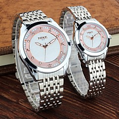 preiswerte Armbanduhren für Paare-Herrn Damen Paar Modeuhr Quartz 30 m Legierung Band Analog Silber / Gold - Weiß Schwarz Golden